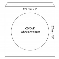 "CD/DVD White Envelopes 127x127mm (5"" x 5"")  / 50pcs"