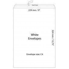 "White Envelopes 229x324mm (9"" x 12.75"") / 50pcs"