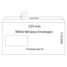 White Window Envelopes 225x115mm / 50pcs