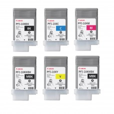 Canon Original PFI-104 Pigment Ink Tank Set of 6 / BLACK, CYAN, MAGENTA, YELLOW, MBK, MBK